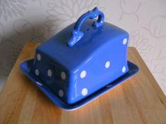 Rare T G Green Blue Domino Cheese Dish & cover Cornishware
