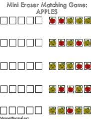 Free Printable Mini Eraser Game By MommaAMommaB Apple Life Cycle, Yellow Apple, Target Dollar Spot, File Folder Games, Apple Theme, Mini Apple, Pattern Matching, School Themes, Tot School