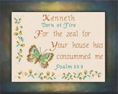 cross stitch personalized names with Bible verses and name meanings as gifts, Cross Stitch Charts, Cross Stitch Patterns, April Quotes, Names With Meaning, Gifts For Family, Joyful, Custom Framing, Psalms, Blessings