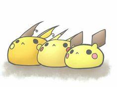 Pichu, Pikachu, Raichu, evolution, cute, chibi, dango, balls; Pokemon