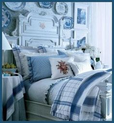 Room of the Day ~ gorgeous and fresh blue and white mix of patterns - Cottage Living - might be Ralph Lauren 6.6.2013