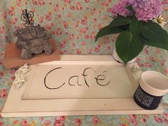 Vintage Cafe Tray with flowers and more by VignetteWonders on Etsy