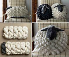 Crochet Bobble Sheep Pillow