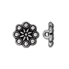 12.25mm Antique Silver Czech Rosette Button | TierraCast Lead-free Pewter Base Metal Buttons for Crafts and Making Jewelry | Harlequin Beads and Jewelry