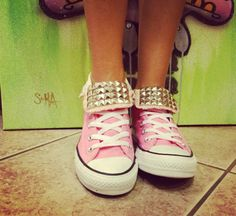 Custom Studded Light Pink Converse All Star by DiamondEyesChicago, $95.00