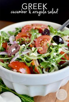 Greek Cucumber and Arugula Salad is fresh and light. Perfect as a light side…