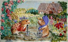 Gallery.ru / Задушевный разговор (Сурки в палесаднике) - вышивка шелковыми лентами - seidenliebe Ribbon Embroidery, Embroidery Art, Embroidery Designs, Ribbon Work, Silk Ribbon, Embroidered Silk, Soft Colors, Quilts, Stitch