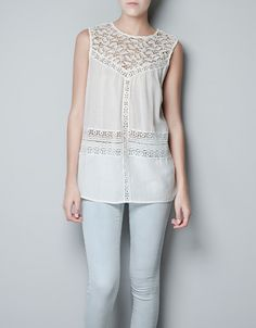 BLOUSE WITH LACE BIB FRONT - Shirts - Woman - New collection - ZARA United States