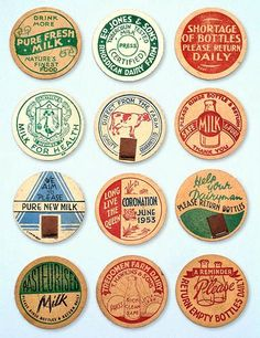 Selection of Milk Caps - round discs of waxed card fixed to the top of bottles, including one for the Coronation of June 1953. Circa 1950s: