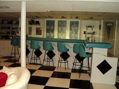 Retro bar, vintage floor in my home basement. Cool baby.