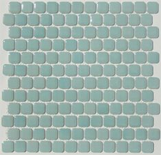 Retro Chiclet Glazed Porcelain Mosaic Tile in Aquiline - 1 x 1 Rounded Square Mosaic Tile