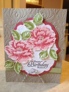 SU Stippled Blossoms, Simply Sketched or any sentiment, En Francias or French Script Birthday Cards For Women, Handmade Birthday Cards, Greeting Cards Handmade, Love Stamps, Stampin Up Cards, Altenew Cards, Embossed Cards, Home And Deco, Scrapbooking