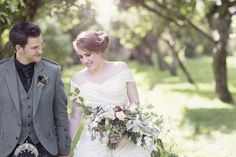 Ian Stuart Frederique for a rustic wedding in Scotland with mocha bridesmaids and DIY details