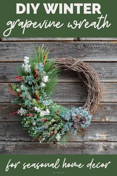DIY winter wreath ideas for your front door. How to make a winter grapevine wreath to display on your door for seasonal winter home decor. This DIY winter wreath is perfect for your front door and features traditional, winter elements including pinecones, pine needles, eucalyptus, winter berries and faux spray snow. Handcrafted using faux floral supplies from the craft store, this winter wreath idea is perfect as a winter decoration for your front door throughout the winter holiday season. Wreath Ideas, Diy Wreath, Grapevine Wreath, Christmas Wreaths, Christmas Crafts, Christmas Decorations, Holiday Decor, Holiday Ideas, Winter Berries