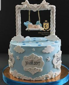Baby Birthday Cakes, Baby Boy Cakes, Cakes For Boys, Girl Cakes, Gateau Baby Shower, Baby Shower Cakes, Christening Cake Girls, Cake Pictures, Novelty Cakes