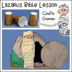 Lazarus Bible Lesson - Crafts and Games Toddler Sunday School, Kids Sunday School Lessons, Sunday School Games, Sunday School Crafts For Kids, Bible Story Crafts, Bible Stories For Kids, Bible Crafts For Kids, Kids Bible, Preschool Bible Lessons