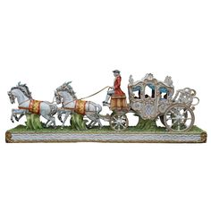 Large and Impressive Tiche Porcelain Horse and Carriage Group | From a unique collection of antique and modern sculptures at https://www.1stdibs.com/furniture/decorative-objects/sculptures/
