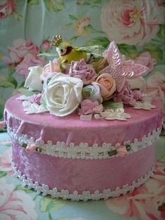 Green,bird,altered art cottage,shabby,fake,faux,crown,roses ,cake 1 by stephanies cottage!, via Flickr