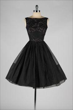 vintage 1950s dress . black organza . by millstreetvintage on Etsy