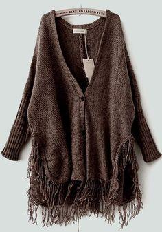 Coffee Tassel V-neck Bat Sleeve Knit Cardigan
