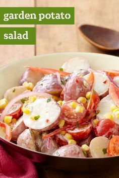 Garden Potato Salad – Tomatoes, corn, and red peppers give this potluck-ready side dish its delicious flavor and its great color. Make this recipe for your family this spring—they're sure to thank you!