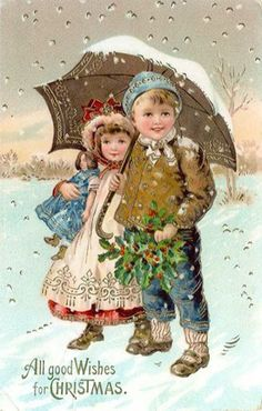 Brother and sister Christmas Scenes, Christmas Past, Christmas Photo Cards, Christmas Pictures, Xmas Cards, Christmas Villages, Christmas Christmas, Vintage Christmas Images, Victorian Christmas