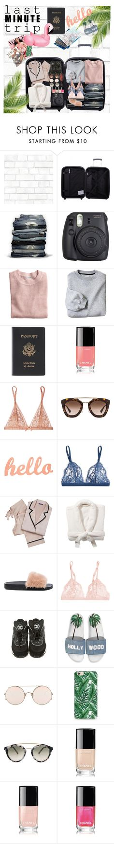 """Last minute trip...."" by sascha-haarup on Polyvore featuring Tempaper, Tripp, Hollister Co., Fuji, H&M, Royce Leather, Chanel, L'Agent By Agent Provocateur, Prada and La Perla"