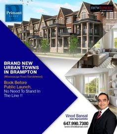 Brand New Urban Towns in #Brampton (Mississauga Road /Sandalwood) Book Before 24th Sept -- Public Launch Day.