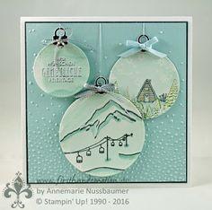 Afbeeldingsresultaat voor stampin up mountain adventure Stampin Up Christmas, Christmas 2017, Christmas Bulbs, Cool Cards, Diy Cards, Winter Karten, Card Tricks, Christmas Settings, Winter Cards