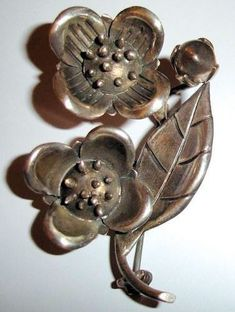 Vintage Coro Sterling Silver Hector Aguilar Taxco Mexico Floral Pin Brooch #CoroHectorAguilarTaxco #SterlingSilverMarks