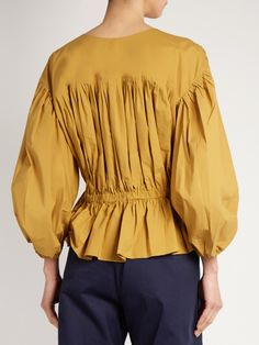 Sonia Rykiel Puff-sleeved cropped cotton-poplin blouse (Might be 96% cotton, 4% elastane)
