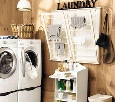Ideeen opdoen voor mijn eigen wasruimte  kijk, dit is een handig wasrekje.