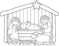 Christmas Coloring Pages - Nativity Christmas Nativity Scene, Preschool Christmas, Kids Christmas, Christmas Crafts, Nativity Scenes, Cross Stitch Embroidery, Embroidery Patterns, Machine Embroidery, Theme Noel