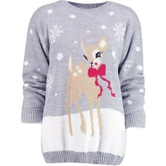 Boohoo Niamh Reindeer Christmas Jumper   Boohoo (1,295 PHP) ❤ liked on Polyvore featuring tops, sweaters, jumpers, xmas, xmas sweaters and christmas sweaters