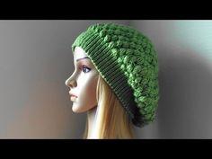 How To Crochet A Puff Stitch Hat, Lilu's Knitting Corner Video # 92 Crochet Snowflake Pattern, Crochet Snowflakes, Crochet Patterns, Diy Crochet, Crochet Hooks, Crochet Baby, Crochet Beanie, Knitted Hats, Green Beret