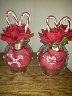 Candy Cane Centerpieces with Ivy Bowls Christmas stickers on dollar tree bowls