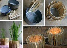 Porta velas con latas de atún y pinzas de madera
