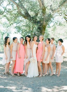 Corals and neutrals: http://www.stylemepretty.com/2015/07/27/mix-n-match-bridesmaids-dresses-youll-love/