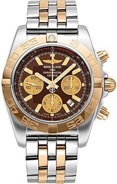 Breitling Chronomat 44 Herren Uhr mit Saphirglas, Edelstahl/Roségold (Pilotband) silber/gold Armband und einem Striche braunen…