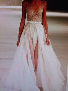 Paolo Sebastian Swan Lake Wedding Dress with Nude Bustier - Nearly ...