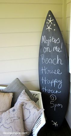 I put this in my dining room for a weekly menu board and also a note board for the fam to leave notes to one another. We used an old surfboard that the kids outgrew so its smaller but it fits the dining room perfectly! And it was a super simple craft! What took the longest was stripping all the old wax off the board!  Surfboard Makeover. Would also be cute on an old wooden ironing board.