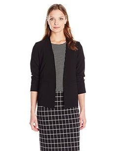 PARIS SUNDAY Women's Long Sleeve Crepe Jacket, Black, X-Small ** Read more reviews of the product by visiting the link on the image.