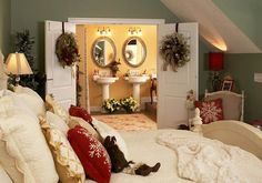 his and hers christmas bedroom decoration idea. Get ideas on a master bedroom for you husband or wife.!