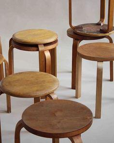 Alvar Aalto stools, Artek, Finland, 1940-1950s