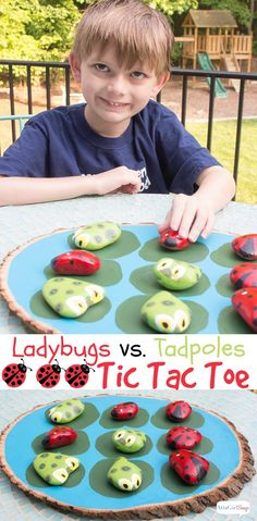 Paint your own ladybugs vs. tadpoles tic tac toe game. Tutorial at AttaGirlSays.com #patiopaint