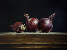 Paintings Of Red Onions. Red Onion Botanical Watercolour By Bewitchedquills On Deviantart, Red Onion Original Oil Painting By Nina Raide Por Night Sky Painting, Forest Painting, House Painting, Watercolor Fruit, Watercolor Landscape Paintings, Watercolor Flowers, Nature Paintings, Still Life Images, Still Life Art