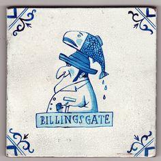 Delftware tile - Billingsgate Fish Market   by Paul Bommer