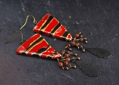 black red striped earrings triangle dangle by CocoFlowerShop