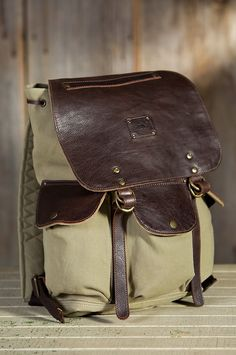 Will Lennon Canvas Backpack with Leather Trim | Overland Sheepskin