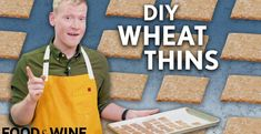 DIY Wheat Thins | Mad Genius | Food & Wine Wheat Thins, Wheat Germ, Whole Wheat Flour, Make Your Own Crackers, Wine Recipes, Cooking Recipes, Great Videos, Corn Syrup